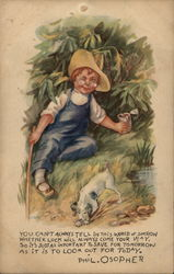 Little Boy With Glasses and Straw Hat with Black and White Dog