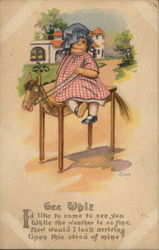 Raggedy Anne Doll on Wooden Horse
