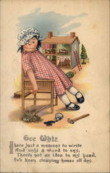 Gee Whiz - Doll & Dollhouse Postcard
