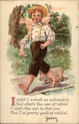 Boy Walking With Pig