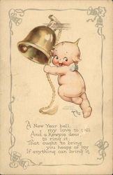 A New Year Bell Kewpie Postcard