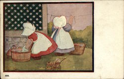 Sunbonnet Babies Doing Laundry in Tub and Hanging Up Clothes