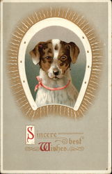 Sincere Best Wishes - Dog ansd Horseshoe