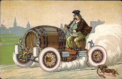 German Man Driving a Beer Keg
