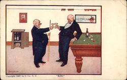 Two Elderly Men Clink Champagne Glasses Near Pool Table