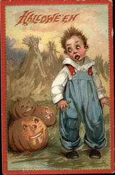 Boy with Jack O'Lanterns