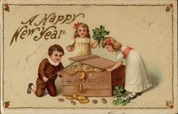 Happy New Year - Children with Chest of Gold Coins
