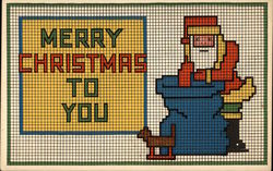 Merry Christmas to You - Santa and Sack Needlepoint Style Postcard