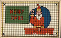 Merry Xmas - Santa and Chimney Needlepoint Style Postcard