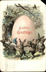Easter Greetings - Rabbits, Gnomes and Egg