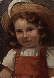 Young Girl in Red Dress and Straw Hat