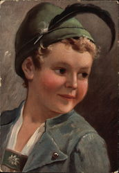 Boy in Lederhosen and Feathered Cap