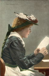 Woman Reading Letter at Table