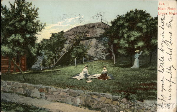 Ladies Picnicing Below Hugh Rock Lynn Massachusetts