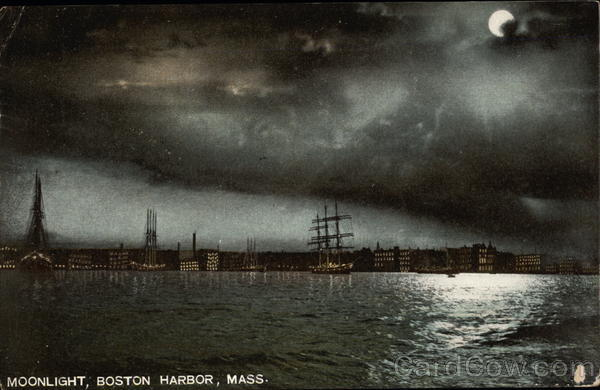 Moonlight on the Harbor Boston Massachusetts