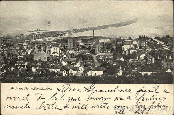 Bird's Eye View of CIty Duluth Minnesota