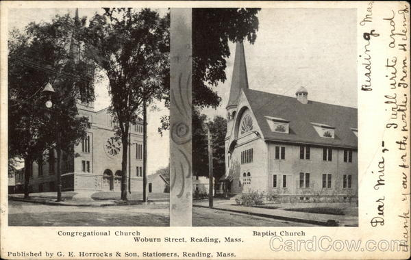 Congregational Church and Baptist Church, Woburn Street Reading Massachusetts