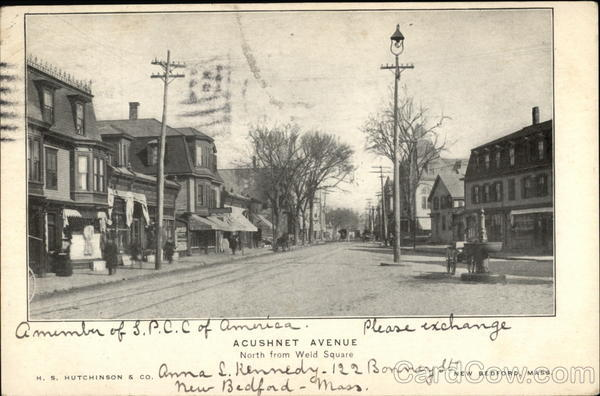 Acushnet Avenue, North from Weld Square New Bedford Massachusetts