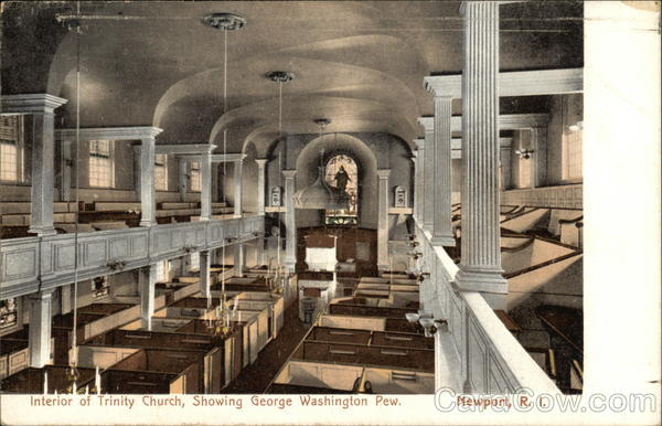Interior of Trinity Church, Showing George Washington Pew Newport Rhode Island