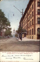 Capitol Avenue Showing State Capitol in Distance and the Leland Hotel at the Right