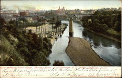 Genesee River Gorge, Showing Rome and Watertown RR Bridge Postcard