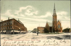 Main Street and Congregational Church Postcard