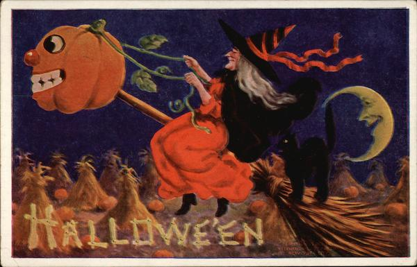 Witch and Black Cat Flying on a Broom Halloween