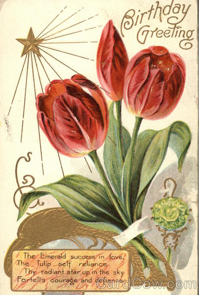 Birthday Greeting, with Red Tulips and Emerald Pin