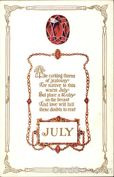 Ruby, July Stone, With Poem Months