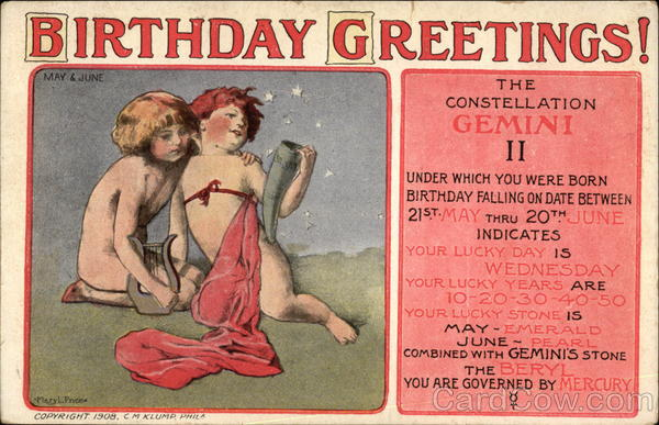 Birthday Greetings - Gemini
