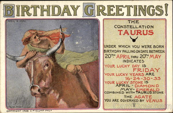 Birthday Greetings - Taurus