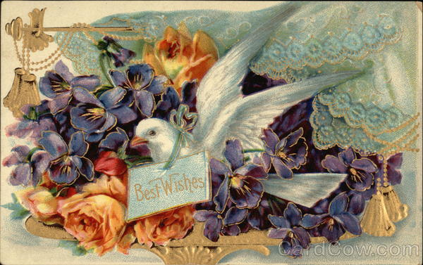 Best Wishes with Flowers and Dove Greetings