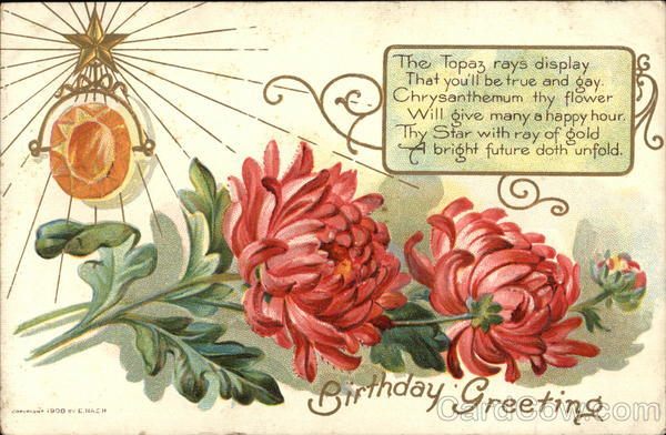 Birthday Greeting, With Chrysanthemums, Topaz, and Star