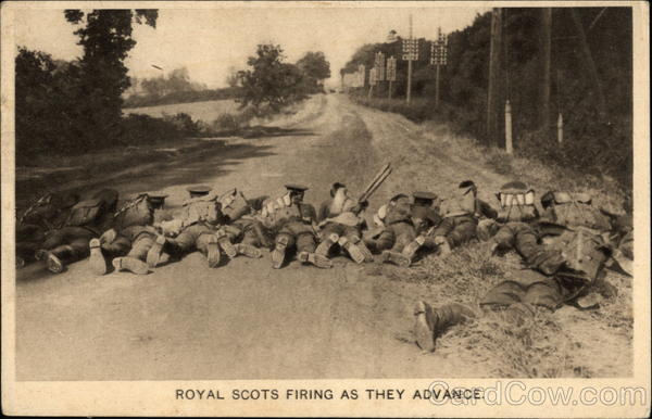 Royal Scots Firing As They Advance Military