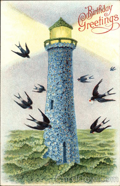 Birthday Greetings - Lighthouse and Swallows
