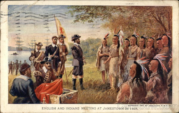 English And Indians Meeting At Jamestown In 1607 1907