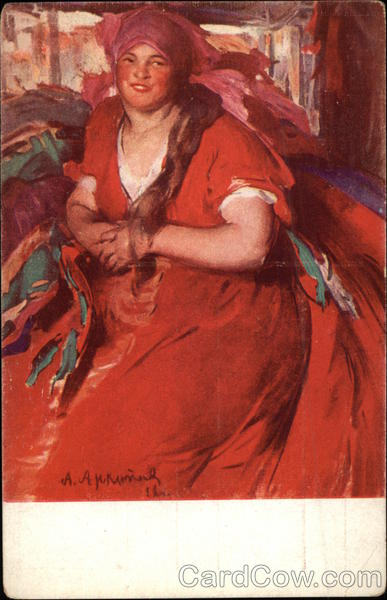 A. Archipoff's Painting of Woman in Red Dress Art