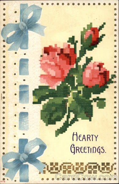 Hearty Greetings with Ribbon & Flowers