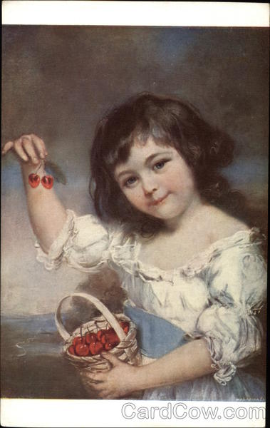 Girl with Cherries by John Russel Art
