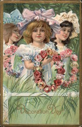 Three Girls With Flowers Postcard