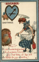 Lady Holding Axe Feeds a Turkey Postcard