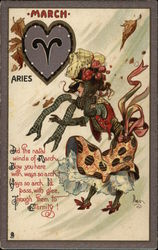 March, Aries Postcard