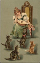 Woman with Instrument and Four Cats