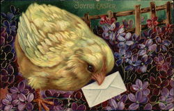 Chick holding envelope