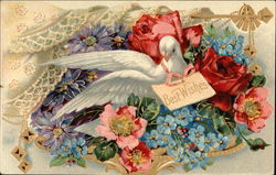 Best Wishes with Flowers and Dove
