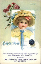 September Birthday, With Child in Yellow Hat With Blue Flowers