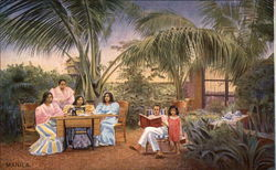 Ladies sewing with Singer machine with a man reading and child watching