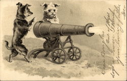 Two Dogs Firing a Cannon