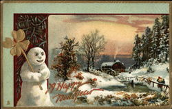 A Happy New Year with Snow Scene