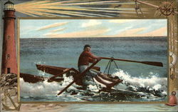 Man Rowing on the Ocean, with Lighthouse Nearby